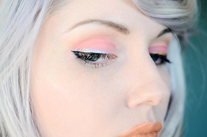 coral silver eye makeup a