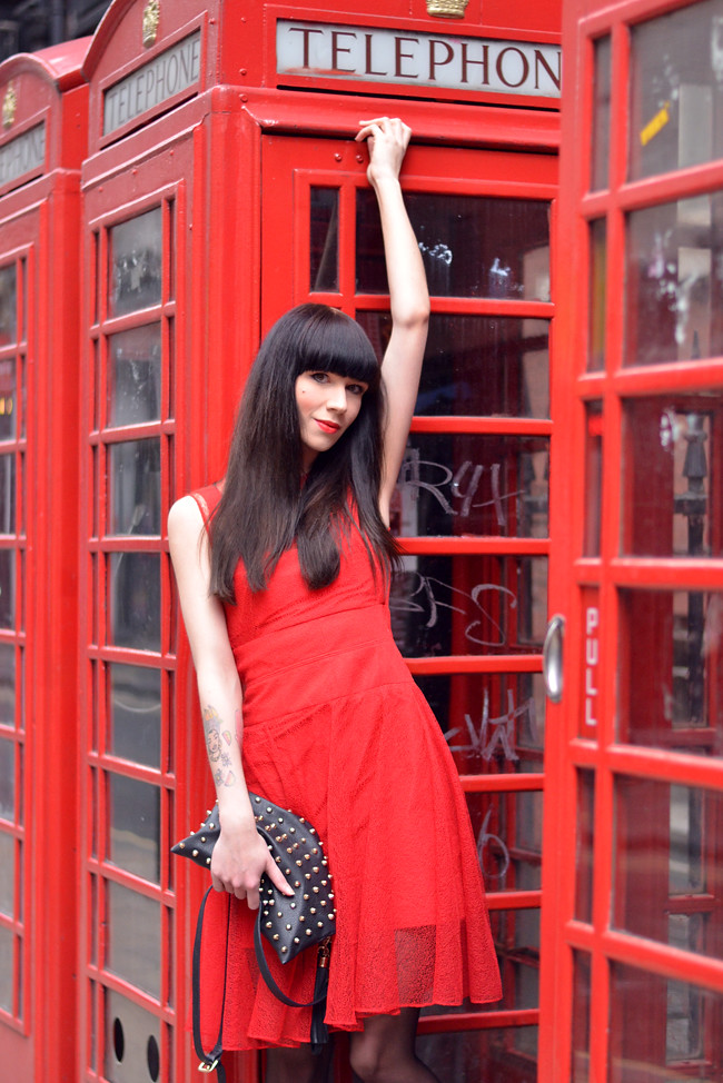 Red Carven dress blogger 2