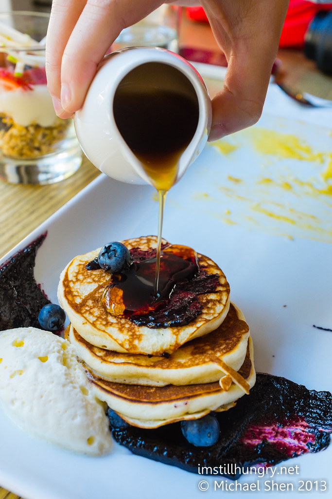 Blueberry & buttermilk pancakes w/blueberry compote & vanilla cream chalkboard cafe