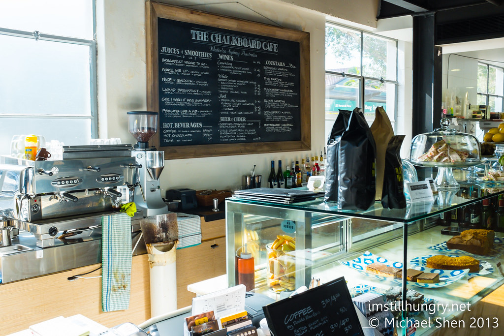 Chalkboard cafe counter area