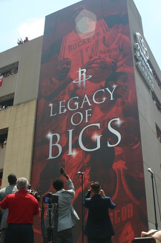 "July 13, 2013 - A big poster entitled ""Legacy of Bigs"" is revealed to the crowd outside Toyota Center"