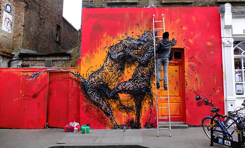 DALeast at work in Brick Lane by milone