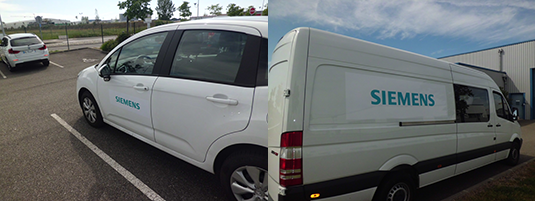 Pose des divers adhésifs sur des véhicules pour Siemens.