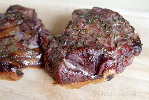 Venison marinating in herb rub and blueberry marinade