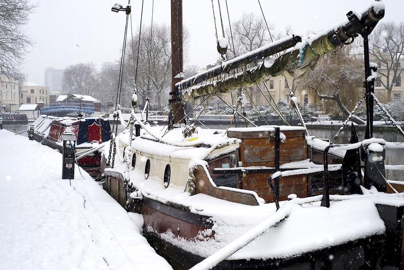 Snow in Little Venice Maida Vale, London