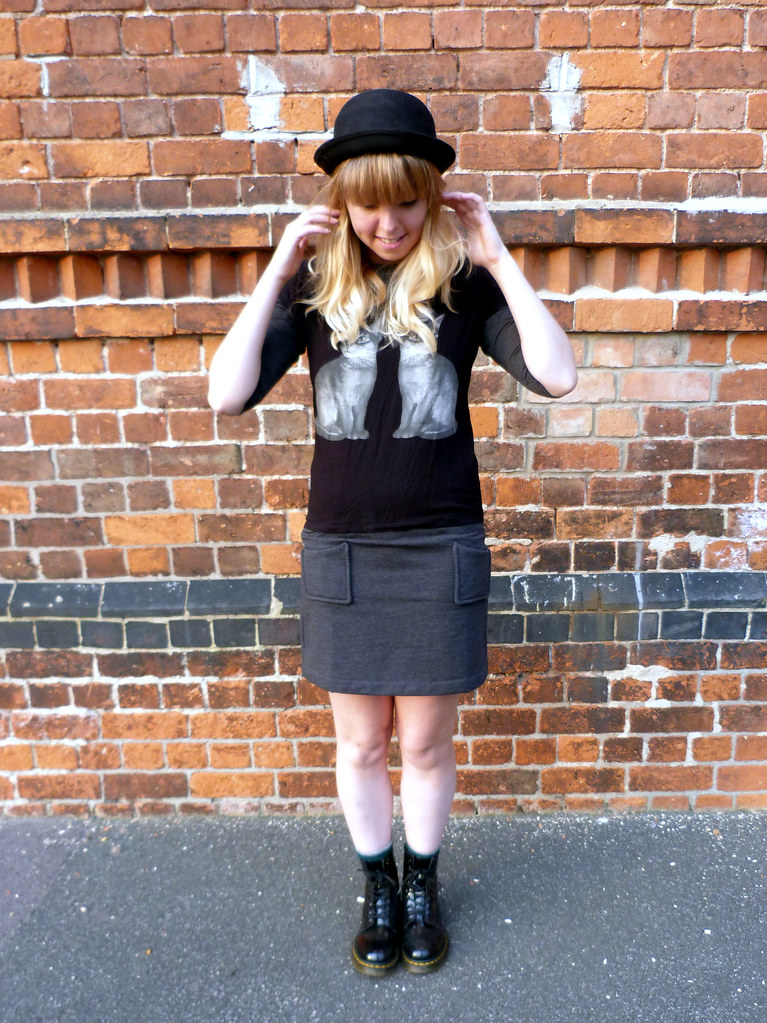 Cat print t-shirt and Fever dress