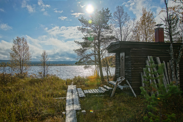 Sauna by Äkäs-lake