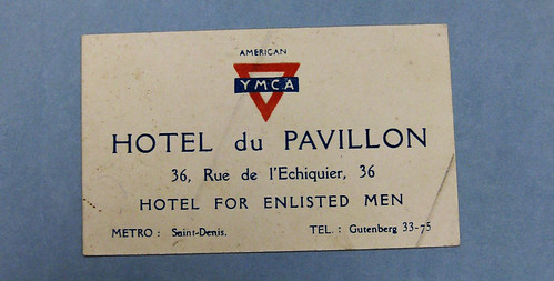 86-404-J Business Card, YMCA, Paris, WWI
