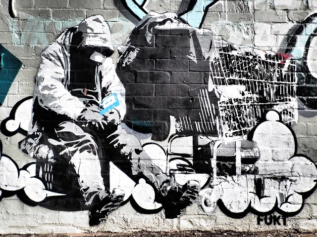 Despondent homeless - Street art in Newtown, Sydney