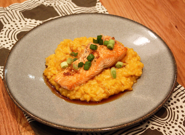 Butternut Squash Risotto with Maple Soy Glazed Salmon