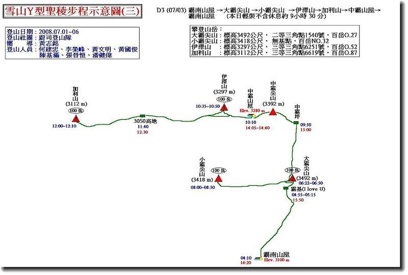雪山Y型聖稜步程示意圖(三)