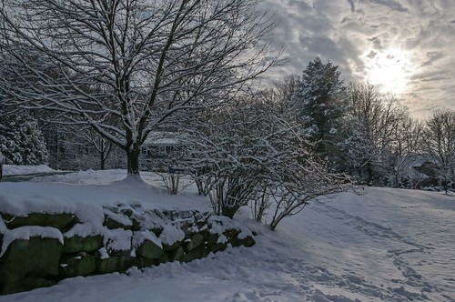 trees winter sunset sun snow landscape backyard rocks cloudy flare f22 sigma1770os