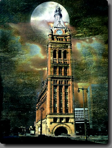 city sunset sky moon building tower texture clock architecture night hall high theatre cityhall victorian culture german milwaukee government historical pabst 1001nights wi hdr milwaukeewi nrhp 1001nightsmagiccity onasill
