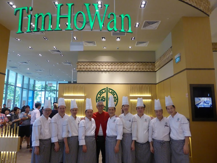 The chefs at Tim Ho Wan Westgate with Mr Robert Chua (in red)