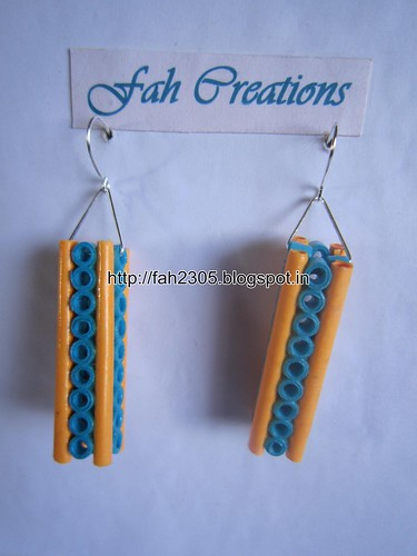 Handmade Jewelry - Paper Quilling Bar Earrings (19) by fah2305