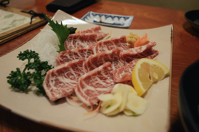 raw horse meat sashimi