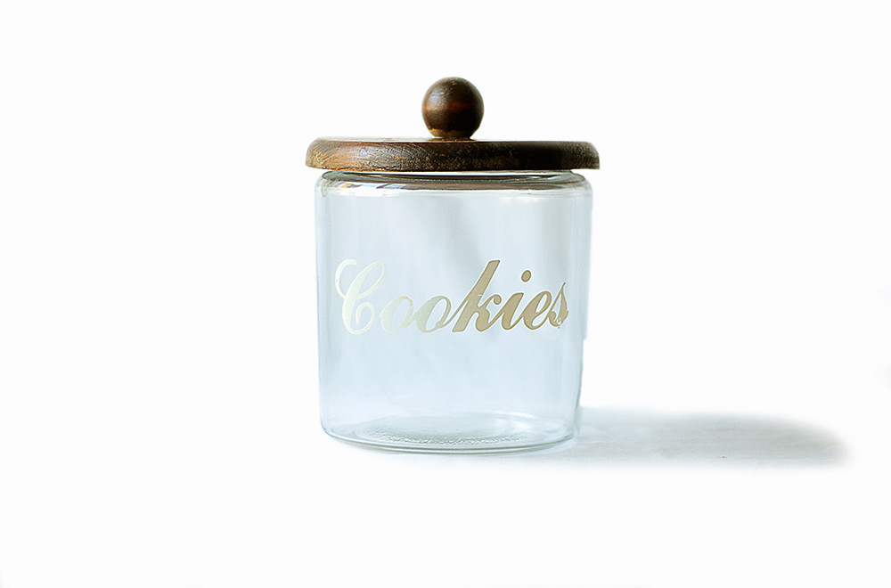 Vintage Glass Cookie Jar with Wooden Lid