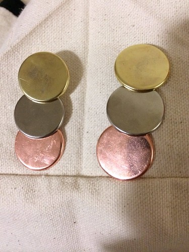 Olympic medal inspired dangle earrings for Iron Craft 3.