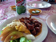 Beef Lok-Lak, Egg, and Soursop Juice