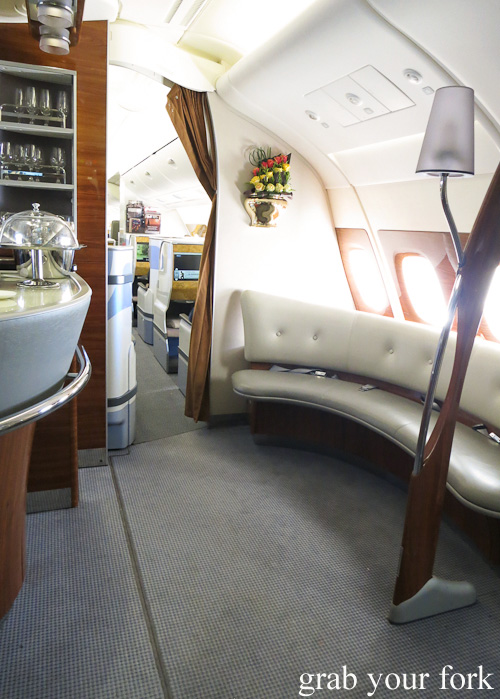 Passenger lounges in the Emirates A380 Business Class onboard lounge