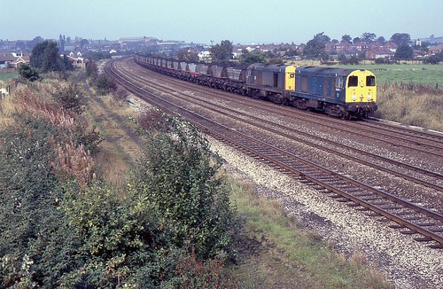BR Class 20s 20072 & 20197, Langley Mill, 2nd. October 1987.