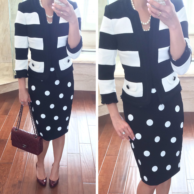WHBM Striped Blazer and Polka Dot Skirt