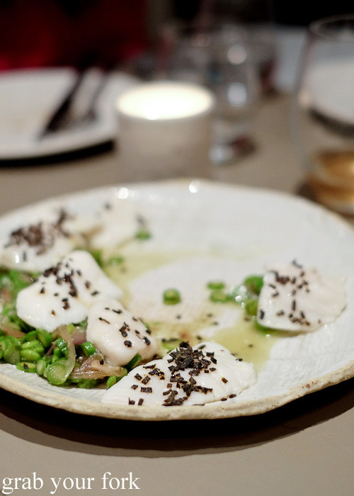 Leatherjacket and asparagus at Pinbone, Woollahra