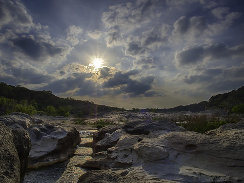 statepark sunset sun water rock clouds landscape evening waterfall texas rays hdr pedernales pedernalesriver texashillcountry pedernalesfallsstatepark