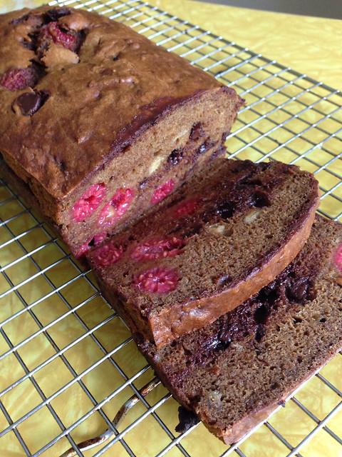 Chocolate Chip Banana Raspberry Bread (vegan)