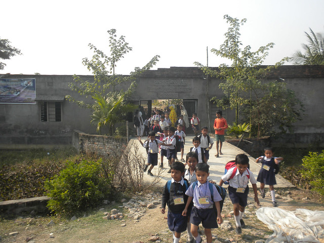 Students of `Sunderban Shikshyatan' at North-East Thakurchak Village of South 24 Parganas.