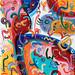 Les visages de la foule (Mille et une faces), 80/80, acrylique sur toile, 2014. by jeremica