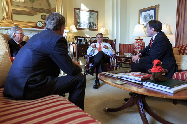 Speaker John Boehner and Senate Majority Leader Mitch McConnell meet with Governors Bill Haslam of Tennessee and Gary Herbert of Utah to discuss ways in which the federal government and states can work together.