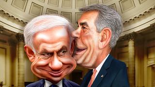 Caricatures: Benjamin Netanyahu and John Boehner keeping secrets