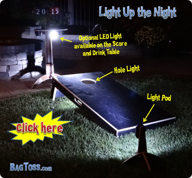 cornhole led lights hole lights Lights backyard bbq, camping beach. Hole lights light up the inside of the board.  Light pods illuminate the front.  The optional light on the score and drink table light up from up top.