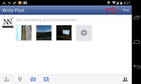 How to Upload Photos or Pictures on Facebook using Android device 4