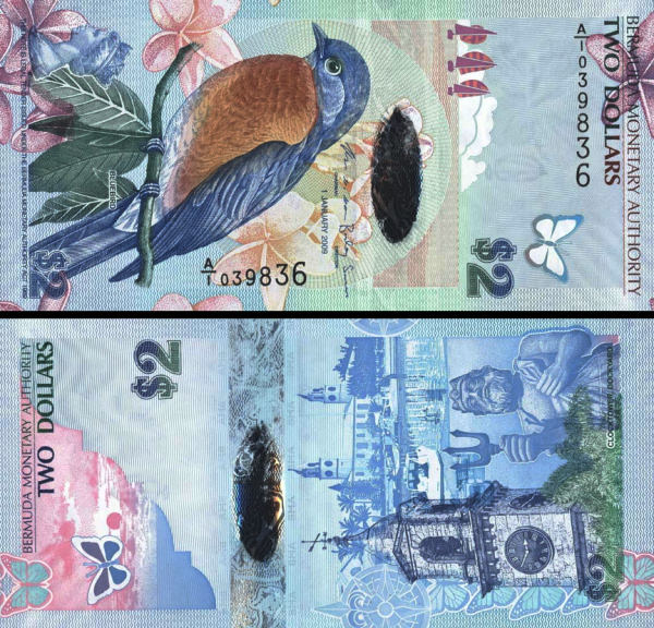 2 bermudské doláre Bermudy 2009, hybrid-polymer P57 UNC