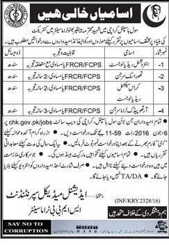Civil Hospital Karachi Jobs 2016