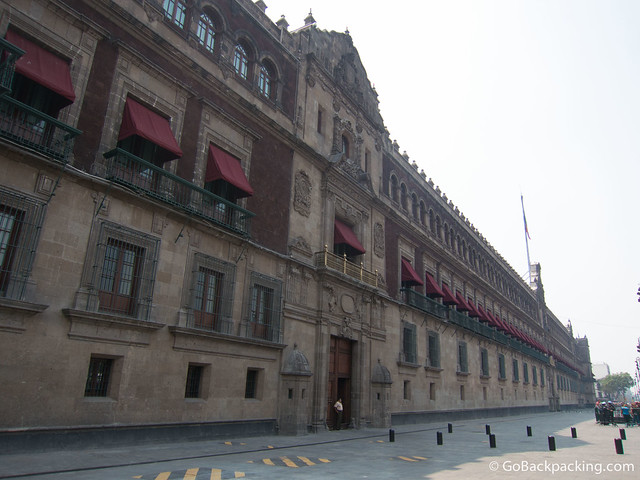 Austere facade of Mexico's National Palace