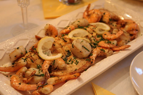 Grilled Lake Trout, Sea Scallops, and Shrimp with Chives