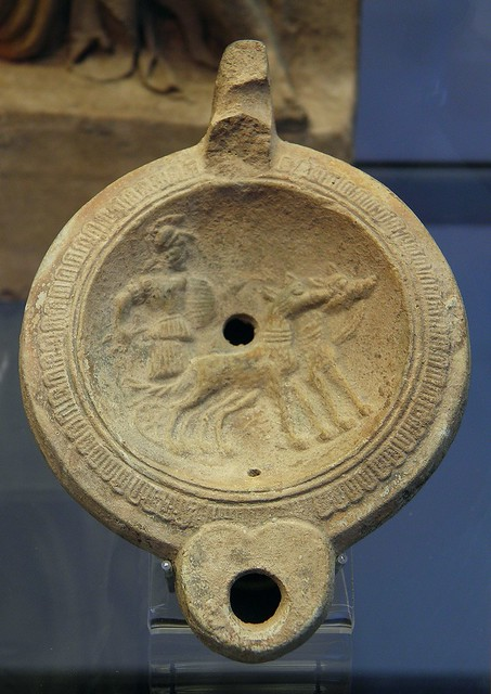 Terracotta oil lamp depicting Mars in a chariot pulled by two dogs, 2nd century AD, Staatliche Antikensammlungen, Munich