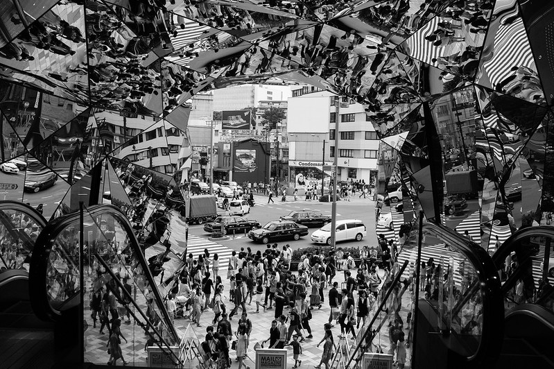 Mirrors forming a kaleidoscope of Tokyo, a city with one of the highest population densities