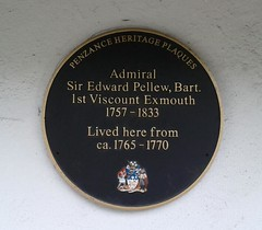 Photo of Edward Pellew black plaque