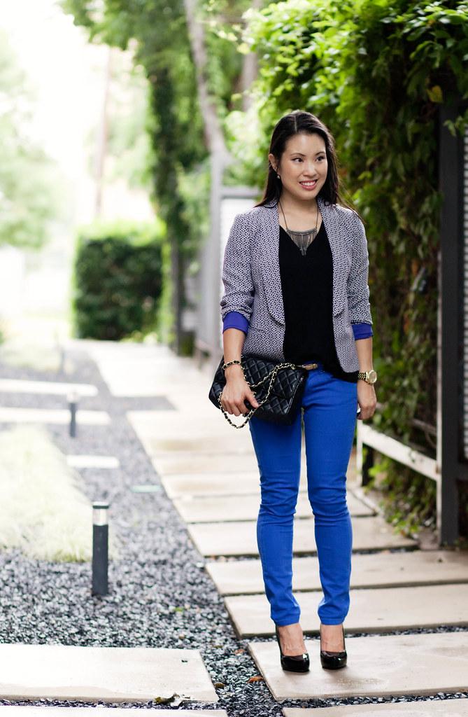 loft sea flower printed blazer, asos cobalt skinny jeans