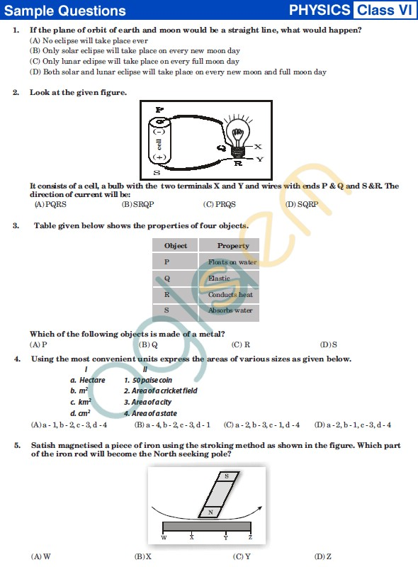 UCO 2013 Sample Papers for ClassVI - Physics