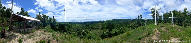 Panoramic shot of the view from above the hill to New Rizal Waterfalls in Barangay Dumarao, Roxas, Palawan