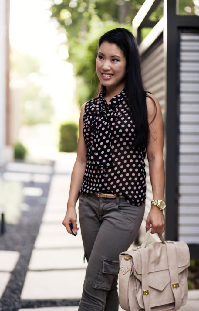 polka dots + cargo skinny pants + studded heels