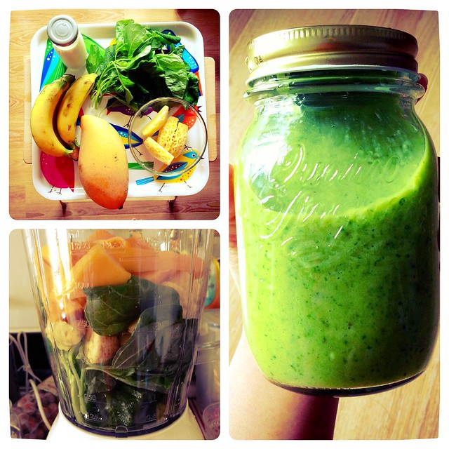 Day 1 : Chinese Kale + Mango + Pineapple + Banana + Almond Milk