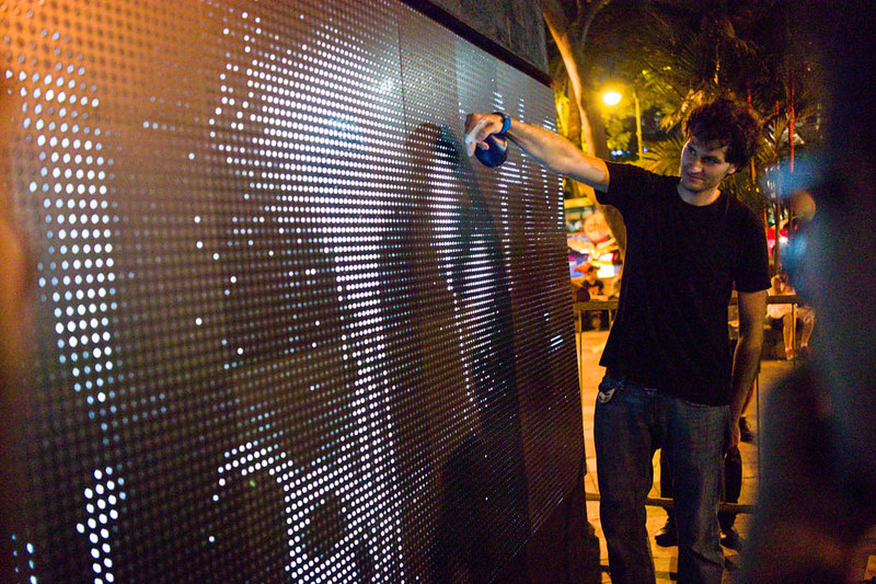 The artist showed how simple it is to create ephemeral and transient graffiti using just water on the special LED board.