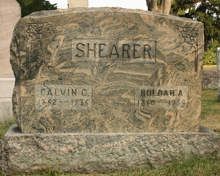 Calvin and Huldah Shearer grave marker