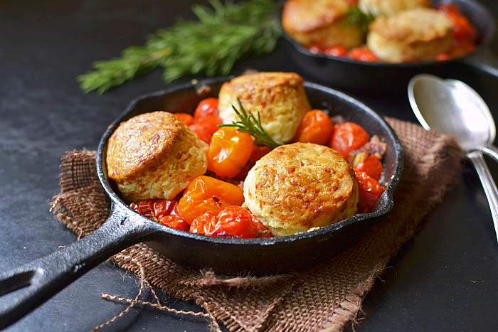 Tomato Cobbler with Rosemary and Gruyere Biscuits via LittleFerraroKitchen.com